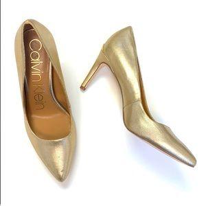 Calvin Klein Kirstin Gold Leather Pump